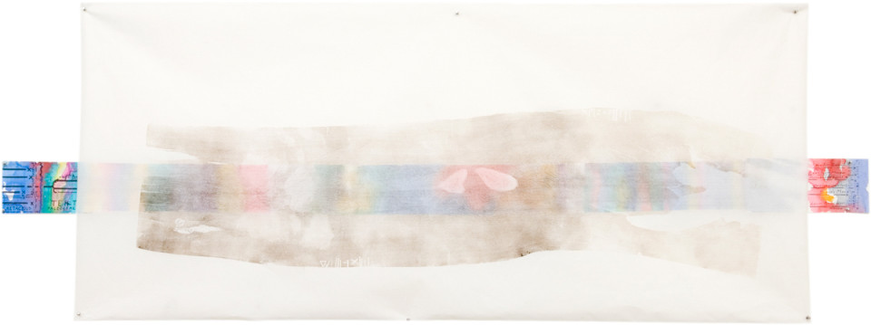 John Wolseley Deep Time - Huon Pine, with Cockatoo Time Line, 2006; woodcut over watercolour, graphite, ink and gouache on paper; 101 x 284.5 cm; (frame size); enquire