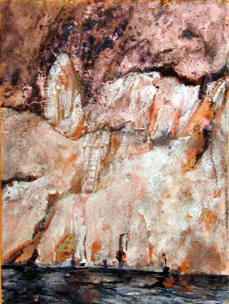 Mandy Martin La Gruta, 2002; pigment, ochre, hematite, mica, wax medium & acrylic binder on paper; 40 x 30 cm; enquire