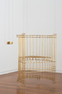installation view; Marley Dawson Chair (for levitation), 2020; brass, silver solder; 84 x 65 x 52 cm; enquire