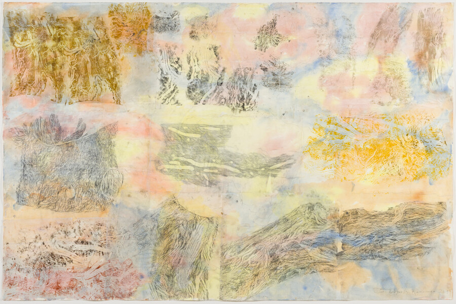 John Wolseley Field painting 1- underground cartographies of the coleoptera of the Whipstick Forest, 2019; watercolour relief prints from found wood; 114.5 x 174 cm; enquire