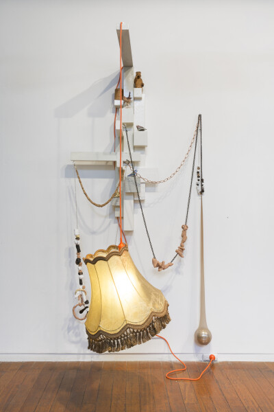 Mikala Dwyer Lamp for Burnt Bridges, 2010-17; wood, metal, fabric, clay, glass, leather, plant matter, crystal, porcelain, light; 200 x 100 x 90 cm; (Installation dimensions); enquire