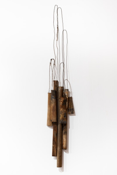 Lorraine Connelly-Northey Narrbong-galang, 2019; CONNL - 0037; burnt tin, wire; 260 x 45 x 14 cm; enquire