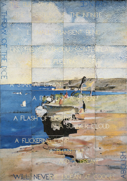 Imants Tillers The Blue Pacific, 2016; acrylic, gouache on 32 canvas boards, no. 98666 - 98697; 200 x 141.5 cm; enquire