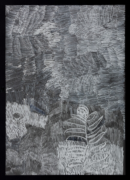Nyapanyapa Yunupingu untitled, 2018; 5398-18; paint pen on clear acetate; 84 x 60 cm; Enquire