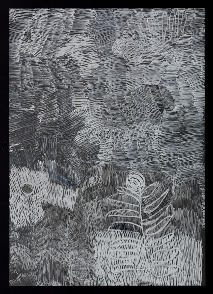 Nyapanyapa Yunupingu untitled, 2018; 5398-18; paint pen on clear acetate; 84 x 60 cm; enquire