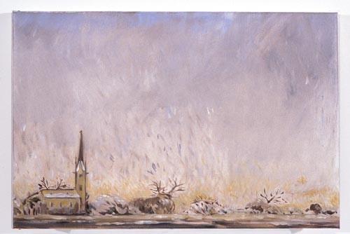 Linda Marrinon Country Church under Snow, 1996; Oil on canvas; 46 x 30 cm; enquire