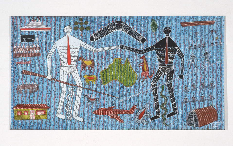 Robert Campbell Jnr Let's Be Friends (Learning Each Others Culture), 1988; acrylic on canvas; 122 x 227 cm; enquire
