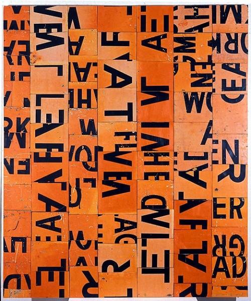 Rosalie Gascoigne Hung Fire, 1995; retro-reflective roadsign on wood; 209 x 176 cm; enquire