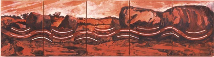 Mandy Martin and Trisha Carroll Red River Rising, 2004; ochre, pigment and acrylic on Arches paper; 40 x 30 cm; enquire