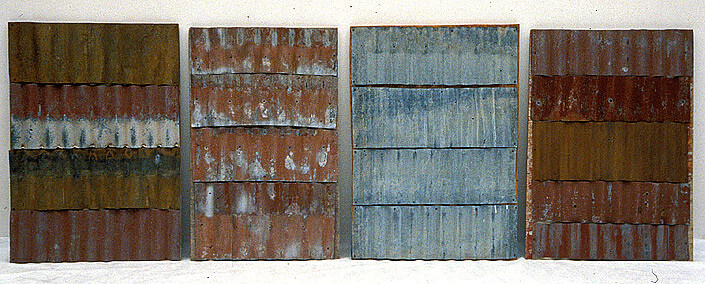 Rosalie Gascoigne Frontier I-IV, 1998; painted corrugated iron panels on wood; 110 x 330 cm; enquire