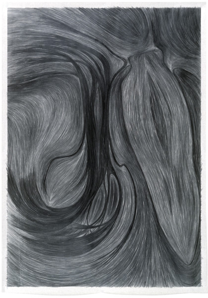 Dale Frank (Portrait) As a Tropic and Drawn Blood. The Sadness, 1982; graphite on paper; 65 x 50 cm; enquire
