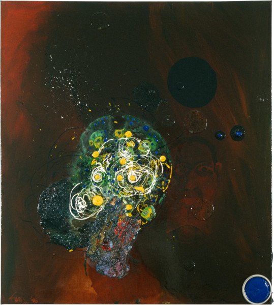 Dale Frank Self Portrait with Real Bubbles, 1986; acrylic & mixed media on canvas; 95 x 77 cm; enquire