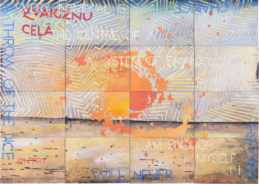 Imants Tillers Nature Speaks: GS, 2019; synthetic polymer paint, gouache on 16 canvasboards, nos. 108272–108287; 101 x 141.5 cm; enquire