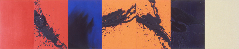Lindy Lee Beyond the Six Paths of Freedom, 1997; acrylic on board; 41 x 199.5 cm; 7 panels; enquire