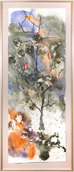 John Wolseley Barrka-Lacewing Vine, 2015; watercolour, relief print, graphite on paper; 236 x 102 cm; enquire