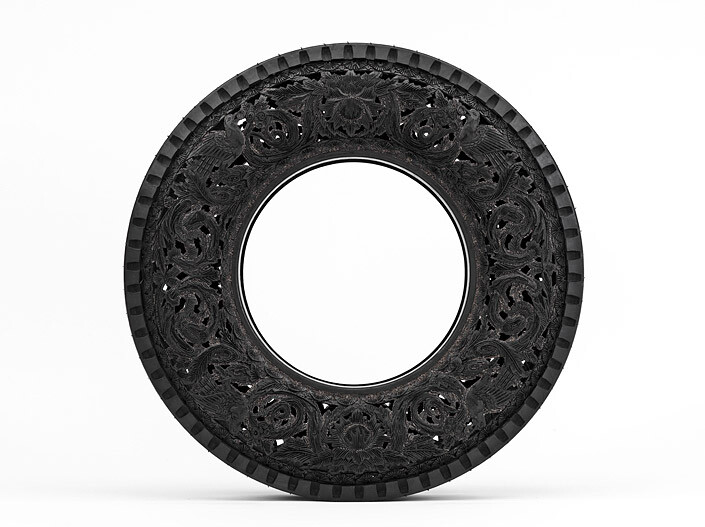 Wim Delvoye Untitled (Car Tyre) 5, 0; handcarved car tyre; 81.5 x 81.5 x 17 cm; enquire