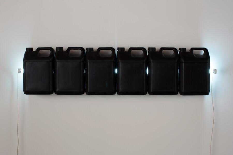 Bill Culbert Strait (Black), 2015; fluorescent light, plastic bottles; 30 x 120 x 12 cm; enquire