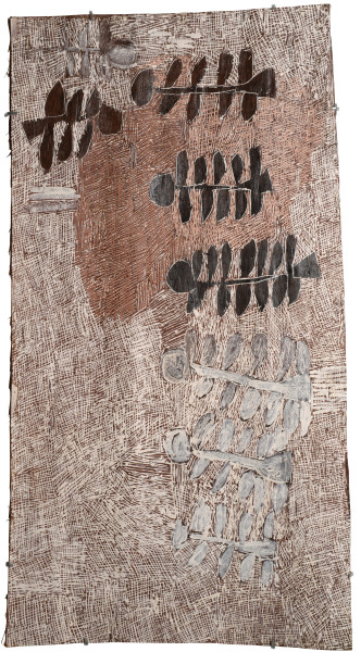 Nyapanyapa Yunupingu Untitled, 2015; 4790T; natural earth pigments on bark; 103 x 55 cm; enquire