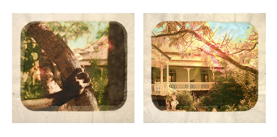 Tracey Moffatt Plantation (Diptych No. 11), 2009; digital print with archival pigments, InkAid, watercolour paint and archival glue on handmade Chautara Lokta paper; 46 x 50.5 cm (each); Edition of 12 + AP 2; enquire