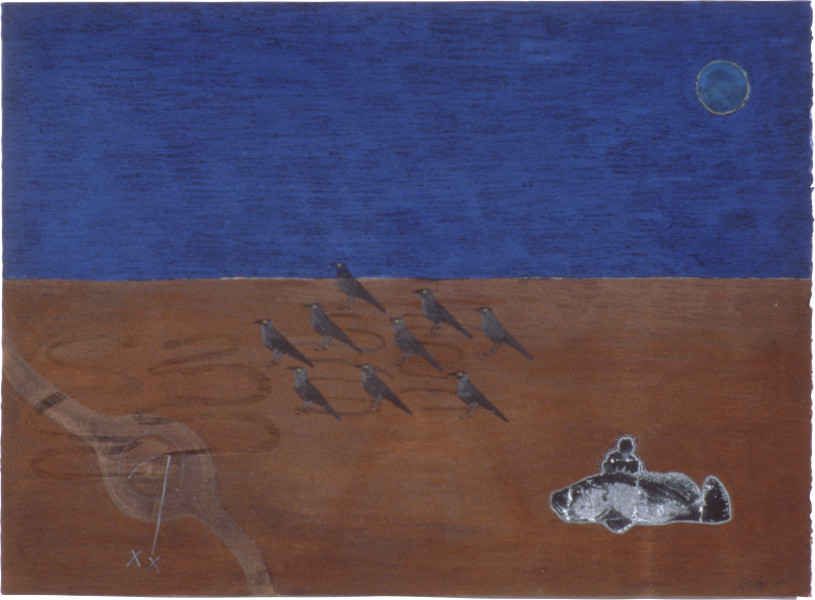 Fiona Foley Three Dreams III, 1990; collage, pigment, ink, aquarelle and oil crayon on paper; 57 x 76.5 cm; enquire