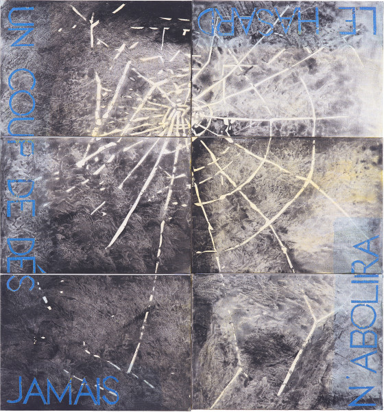 Imants Tillers Metaphysical Detail XVII, 2018; synthetic polymer paint, gouache on 6 canvasboards, nos. 107909 - 107914; 70.5 x 70.5 cm; enquire