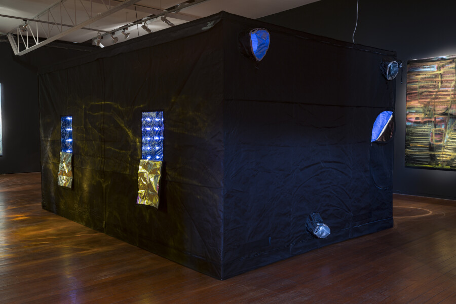 Dale Frank Ghost Story, 2018; Mylar fabric, powder coated steel, LED lighting to program, containing petri dishes, Artist's personal bacteria in agar in petri dishes on brass and glass coffee table plinths; 230 x 300 x 450 cm (Hydroponic Cube structure); Enquire