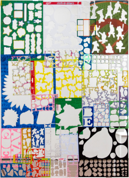 Teppei Kaneuji Ghost Buildings (Mirror #3 ), 2011; mirror, assorted sticker sheets; 96 x 70 cm; enquire