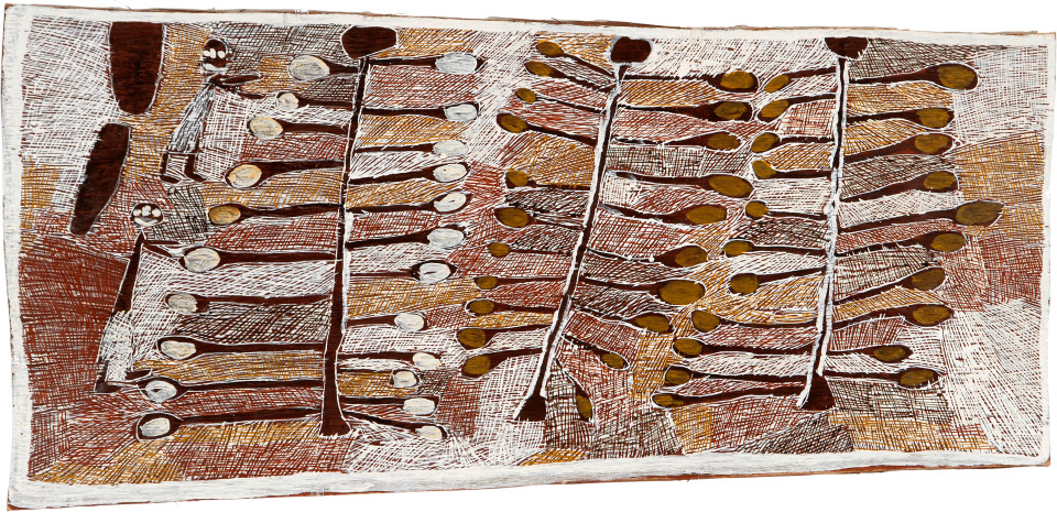 Nyapanyapa Yunupingu Collecting Wild Apples, 2008; natural earth pigments on bark; 150 x 63 cm; enquire