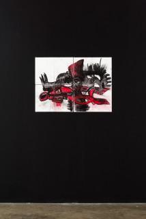 installation view; Pierre Mukeba (MUKEBA(self portrait), 2021; charcoal on archival paper; 60 x 84 cm; enquire