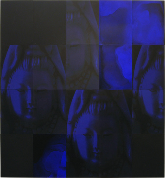 Lindy Lee Living Midnight, 2006; acrylic and wax on boards, archival inks on pure cotton photorag; 20 panels, 162cm x 150cm; enquire
