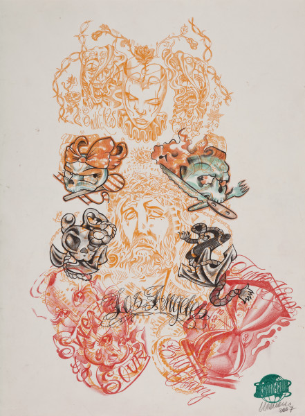 Wim Delvoye Untitled (tattoo drawing #2), 2007; pencil and coloured pencil on paper; 50.5 x 37.5 cm; enquire