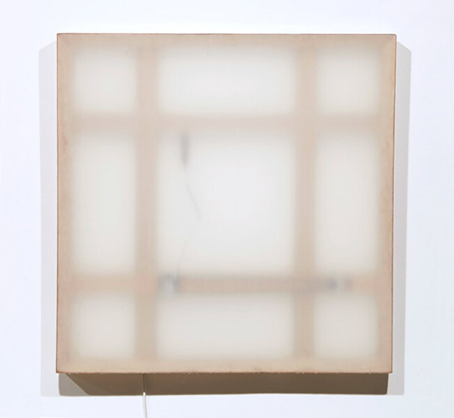 Marley Dawson Mechanical painting ii, 2009; timber, mechanics, polyester resin on polyester fabric, electronics, mild steel; 105 x 105 x 6.5 cm; enquire