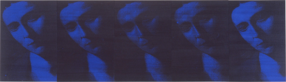 Lindy Lee A True Woman of No Rank, 1997; photocopy and acrylic on Stonehenge paper on board; 41 x 142.5 cm; 5 panels; enquire