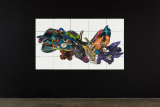 installation view; Pierre Mukeba (Intensely Masked Dolphin), 2021; charcoal and pastel on archival paper; 120 x 210 cm; enquire