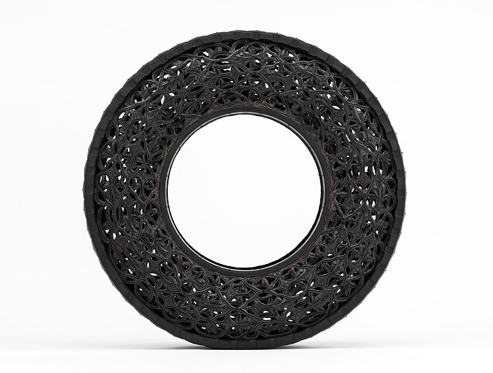 Wim Delvoye Untitled (Car Tyre) 3, 0; handcarved car tyre; 81.5 x 81.5 x 17 cm; enquire
