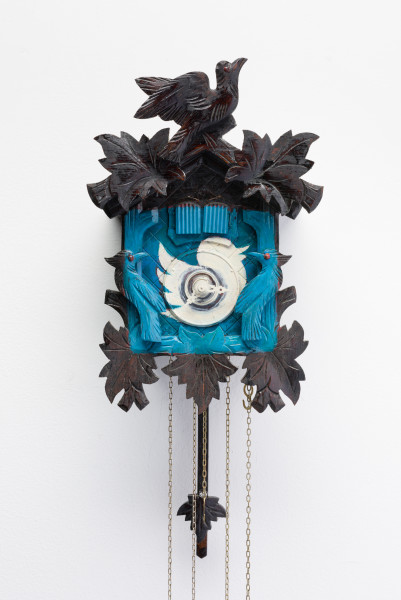 Fiona Hall Tweet, 2014; from the series Wrong Way Time; painted cuckoo clock; 30 x 25 x 15 cm; enquire