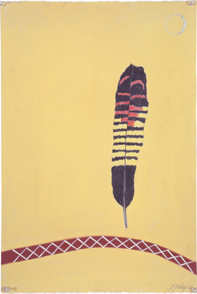 Fiona Foley Black Cockatoo Feather, 1992; pastel on paper; 56 x 38 cm; enquire