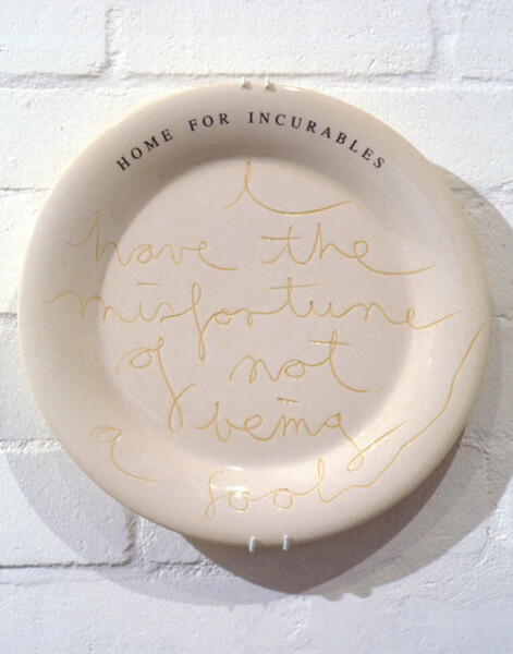 Fiona Hall Home for Incurables, 1995; ceramic plate; 34.5 cm diameter; Edition of 150; enquire