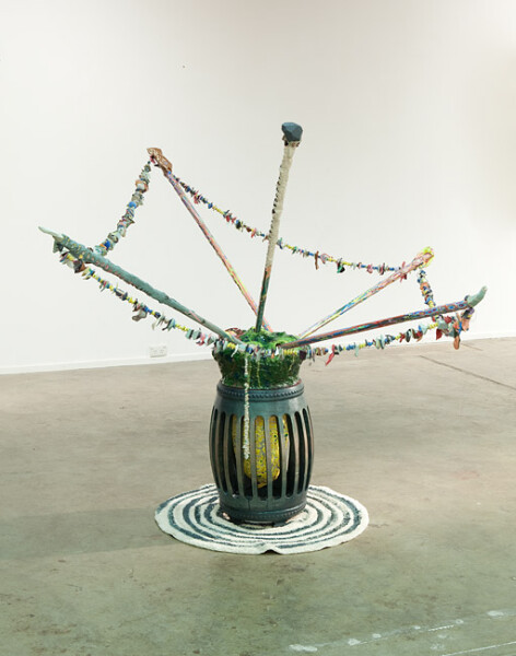 Rohan Wealleans Scare Transfer, Storage Unit 7000, 2010; house paint, wood, ceramic, rug, polystyrene, string; enquire