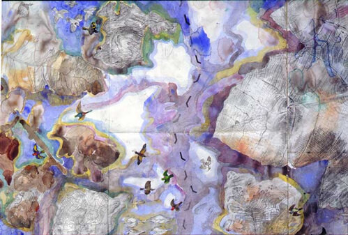 John Wolseley The territories of birds remembering Gondwana and Laurasia (detail), 2001; watercolour on paper; 76 x 263 cm; enquire