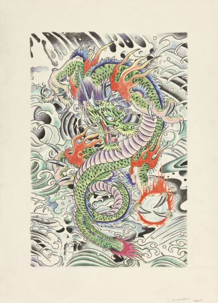 Wim Delvoye Untitled (tattoo drawing #8), 2007; pencil and coloured pencil on paper; 71.8 x 51.4 cm; enquire