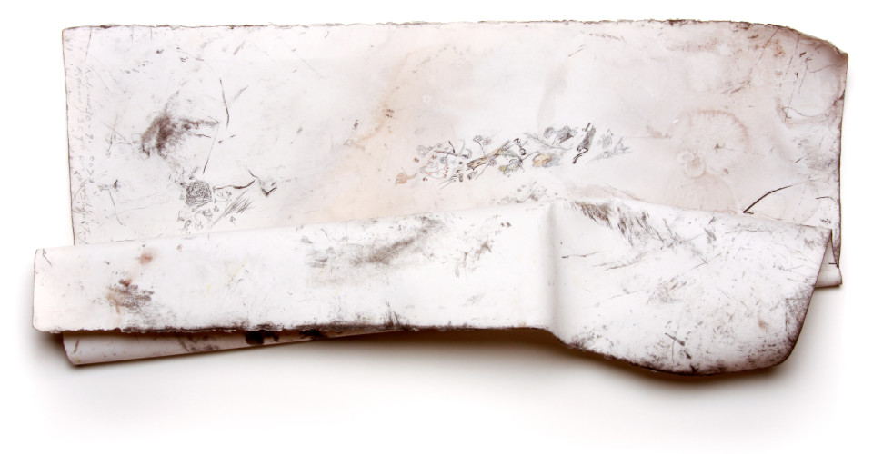 John Wolseley 60 Days windblown: 52 metres with Mallee Inventory, 2008; found charcoal, graphite and watercolour on paper; 34 x 76 cm; enquire