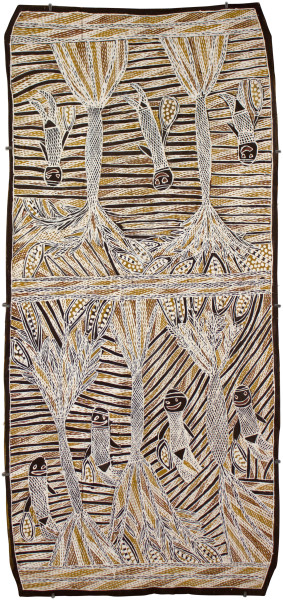 Mulkun Wirrpanda Yolu_ga Gålurra, 2015; 4774I; Bark painting; 108 x 48 cm; enquire