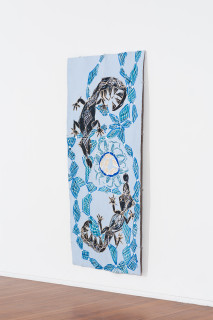 installation view; Dhambit Munuŋgurr BiranyBirany, 2021; 4660-21; earth pigments and acrylic on bark; 244 x 110 cm; enquire