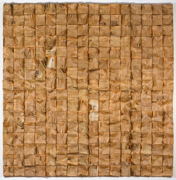 Rosalie Gascoigne Harvest, 1982; 256 wads of newspaper nailed to plywood; 246 x 240 cm; enquire