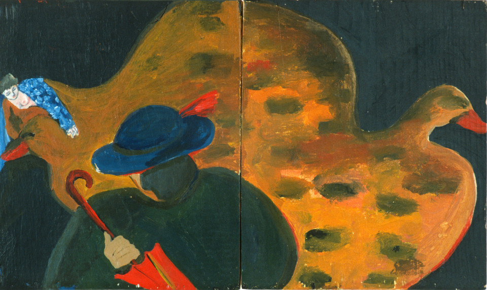 Vivienne Shark LeWitt A Rebours No. 2 & 3, 1984; acrylic on wood, 2 panels; 28 x 16 cm; enquire
