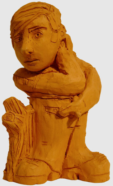 Linda Marrinon Man with Finger Outstretched, 1999; Terracotta; 33.5 x 20 x 14 cm; enquire