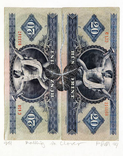 Fiona Hall Rolling in Clover - 4/51, 2004; Gouache on banknotes; 16.5 x 14.2cm (note) 38 x 35.5cm (frame); enquire