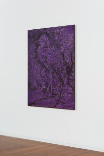 installation view; Daniel Boyd Untitled (SIBWTS), 2020; oil, acrylic, charcoal and archival glue on canvas; 150 x 120 cm; enquire