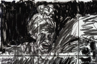 Pierre Mukeba (Black Blotch) (detail), 2021; charcoal and pastel on archival paper; 90 x 84 cm; enquire